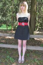 black vintage dress - red Motif 56 belt - white vintage necklace - black vintage