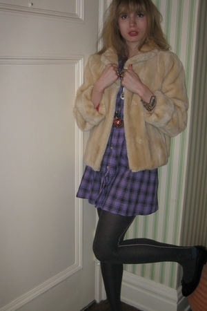 white fur milly jacket - purple plaid See by Chloe dress