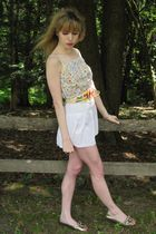 white Mon petit oiseau top - white Shoshanna skirt - beige vintage belt - silver