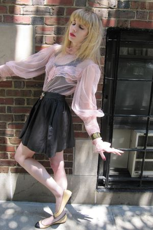pink vintage blouse - black Hanes top - black Joie skirt - gold necklace - gold