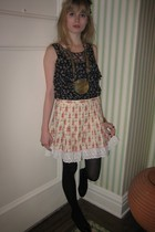31 phillip lim blouse - milly top - Lina Tsai skirt - Vintage costume necklace -