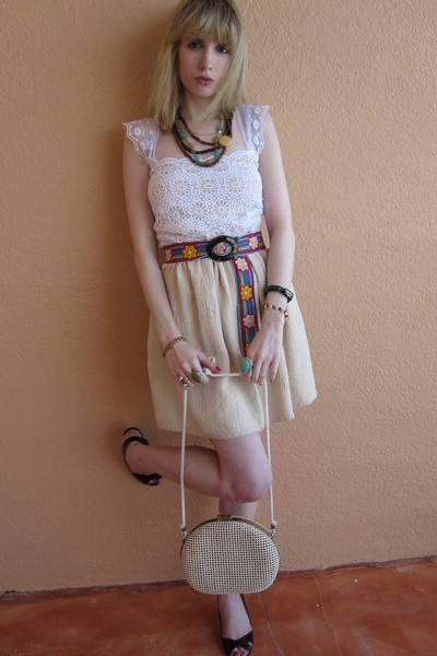 beige See by Chloe dress - red Hadley Pollet belt - brown vintage necklace - blu