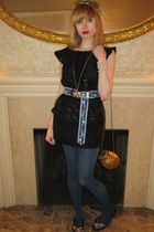 black Piazza Sempione dress - blue Hadley Pollet belt - gold necklace - white Vi