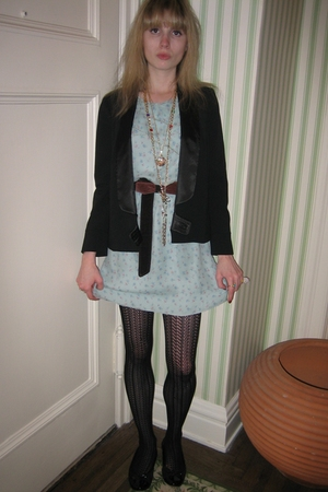 See by Chloe jacket - 31 phillip lim dress - belt - Vintage costume necklace - v