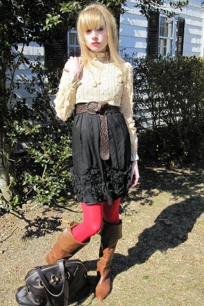 beige vintage blouse - black Rebecca Taylor dress - brown belt - gold vintage ne