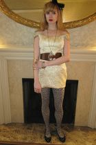 gold Luca Luca dress - brown linea pelle belt - green necklace - silver costume
