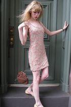 pink vintage dress - brown bracelet - brown vintage Domina purse - beige Chanel