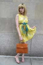 light yellow rhinestone Marc by Marc Jacobs dress - teal chiffon Vintage Perry E