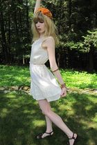 white Jill Stuart dress - orange vintage eva mae modes hat - pink vintage neckla