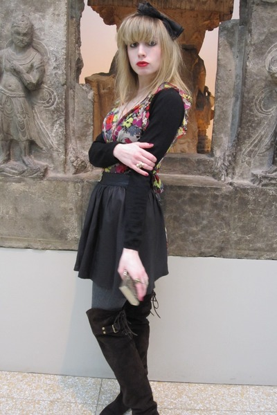 black Armani collezioni sweater - black Joie dress - gold Anna Sui skirt - gray