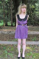 purple Anna Sui dress - black Kenneth Jay Lane belt - silver necklace - white br
