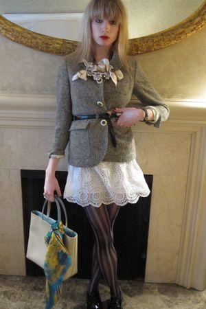 brown love bracelet - white eyelet Jill Stuart dress