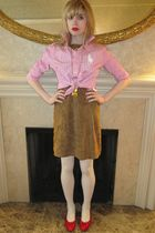 pink Ralph Lauren shirt - brown milly dress - gold vintage necklace - white tigh