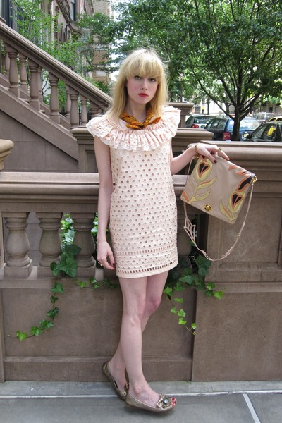 light pink collared Valentino Red dress - burnt orange paisley vintage scarf