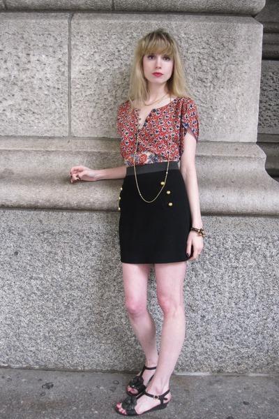 red Anna Sui blouse - black 31 phillip lim skirt - gold vintage necklace - black