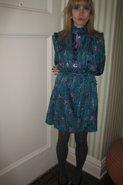 Anna Sui dress - Vintage costume earrings - tights - Chanel shoes