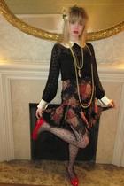 black milly blouse - black milly top - black Betsey Johnson skirt - yellow Vinta