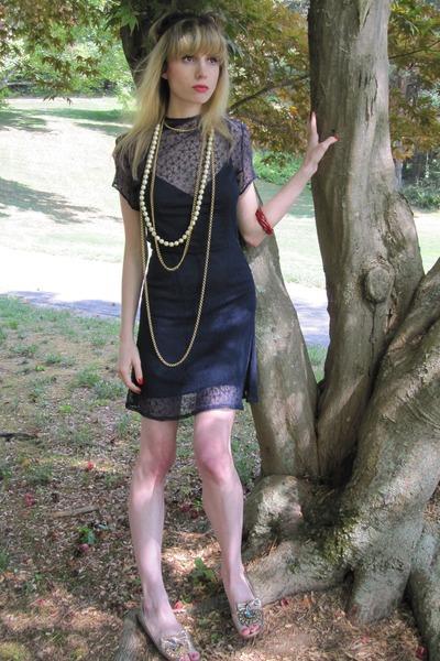 blue vintage dress - black Nanette Lepore dress - blue vintage belt - gold vinta
