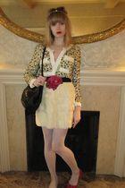 beige 31 phillip lim jacket - beige skirt - gray HUE tights - black vintage Siso