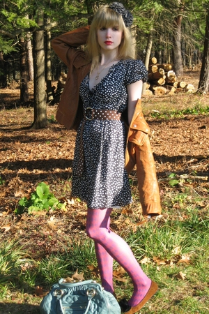 pink windowpane nicole miller tights - black polka dot Joie dress