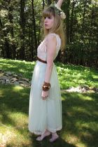green vintage Evette dress - white Hanes top - brown vintage belt - green vintag