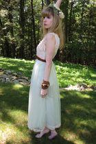green vintage Evette dress - white Hanes top - brown vintage belt - green vintag