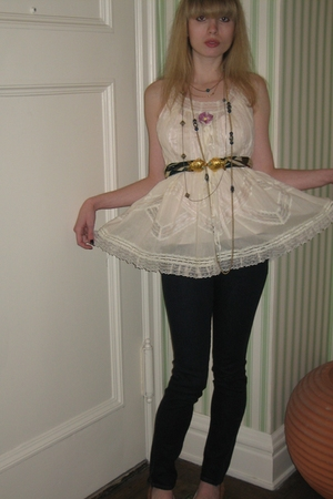 Anna Sui blouse - milly top - J Brand jeans - Vintage costume necklace - Vintage