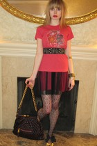 red Junk Food t-shirt - red Betsey Johnson dress - black belt - silver Chanel ea