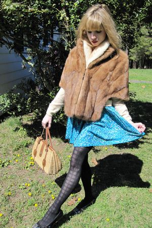 brown Vintage Michels Fur Co jacket - beige vintage Pringle cardigan - blue vint
