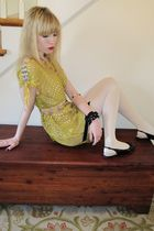yellow 31 phillip lim dress - beige linea pelle belt - orange vintage necklace -