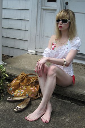 white surfside swimwear - white vintage blouse - white bracelet - silver vintage