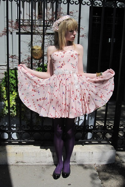 purple opaque tights - pink chiffon Rebecca Taylor dress - gold vintage bag