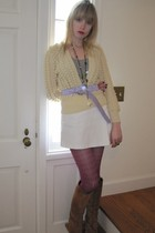 beige vintage saks fifth ave sweater - gray Hanes top - white LAMB skirt - purpl