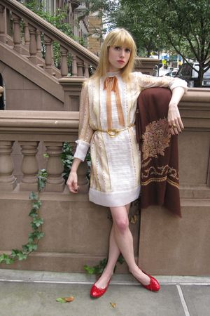 white Anna Sui dress - gold vintage belt - brown vintage scarf - red Chanel shoe