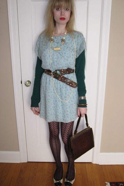 green sweater - blue 31 phillip lim dress - brown Lake Shore Drive belt - beige