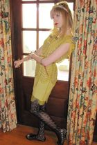 yellow 31 phillip lim dress - gold belt - silver vintage necklace - silver vinta