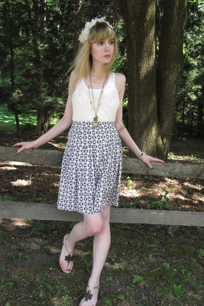 yellow Splendid blouse - white Hanes top - purple Miu Miu skirt - white vintage