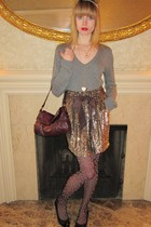 gray sweater - gold 31 phillip lim skirt - gold Vintage costume necklace - gold
