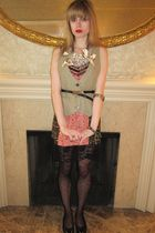 pink Betsey Johnson dress - beige Lux vest - black calvin klein belt - silver Fe