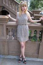 gray rhinestone 31 phillip lim dress - black sandal Chanel shoes