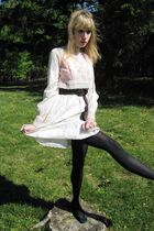white vintage dress - brown belt - black tights - black delman shoes