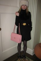 black Hanii Y coat - black Anna Sui dress - brown Allison Daniels Designs belt -