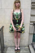 black Anna Sui dress - gold vintage belt - gold vintage bracelet - black Vintage