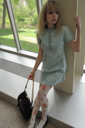 blue vintage dress - white tights - purple Marc Jacobs purse - black Roger Vivie