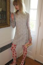 blue vintage Regalia Imports dress - white tights - pink purse - black Prada sho