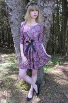 purple See by Chloe dress - black necklace - gold vintage avon bracelet - gold v