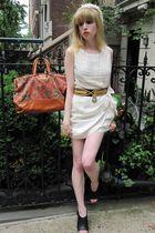 white 31 phillip lim dress - black vintage belt - pink vintage amy ny hat - gold