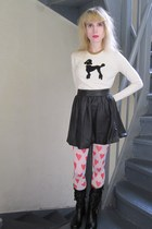 eggshell milly sweater - black Joie skirt - gold vintage necklace - red H&M tigh