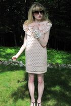 pink Valentino Red dress - brown vintage sunglasses - white vintage necklace - w