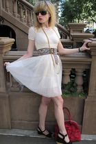 pink tapestry vintage belt - white slip Marc by Marc Jacobs dress